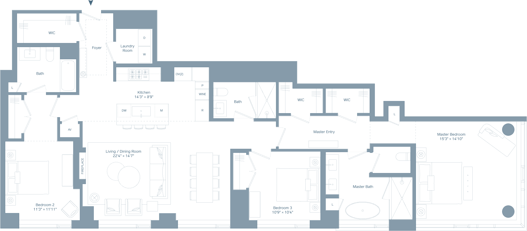 Three bedroom PH floorplan