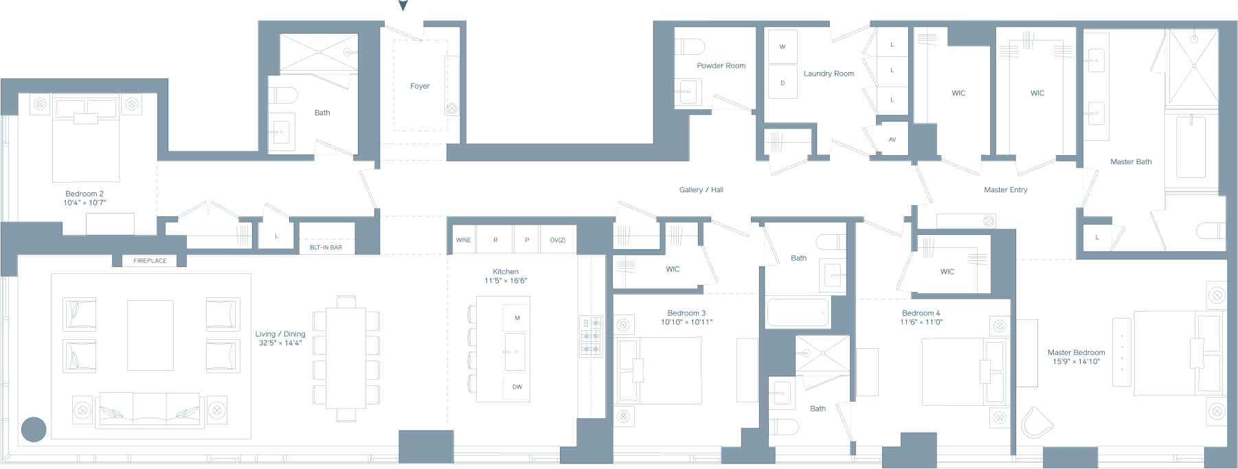 Four bedroom PH floorplan