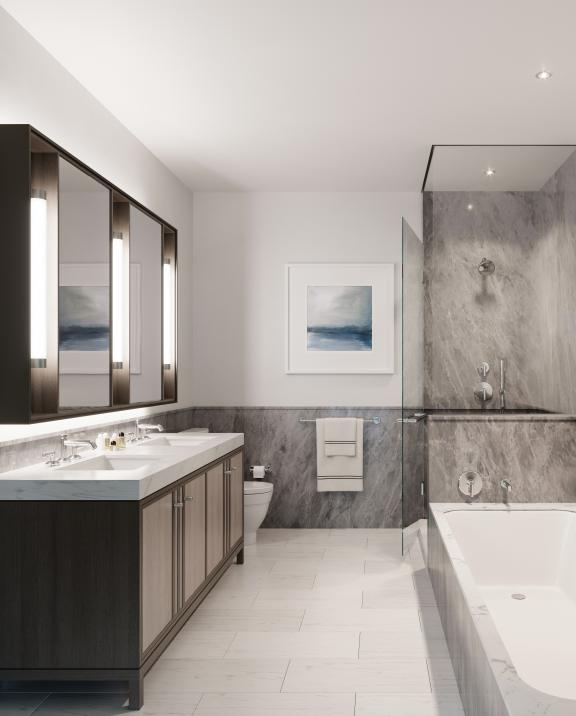 A typical bathroom from inside The Quinn residences in Boston