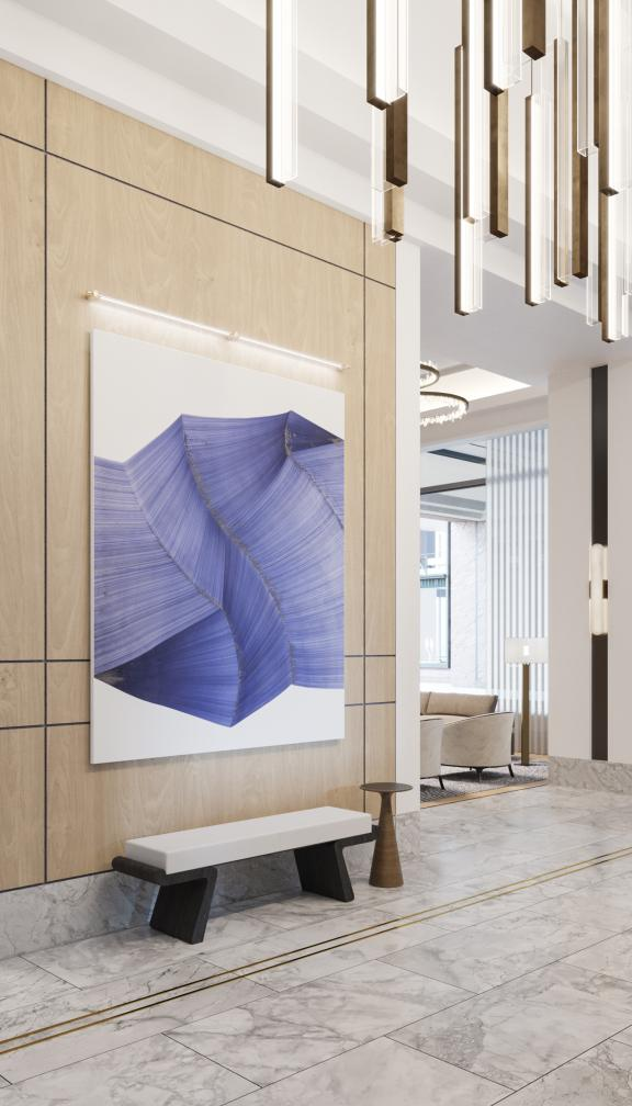 A concept photo of The Quinn residences lobby, complete with a marble interior and a modern design aesthetic