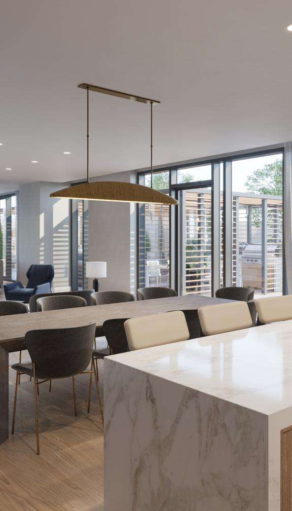 A beautiful and modern Public Clubroom located within The Quinn residences