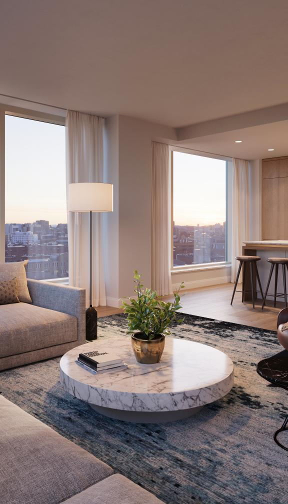 The interior of a suite located in Boston's Quinn Residences