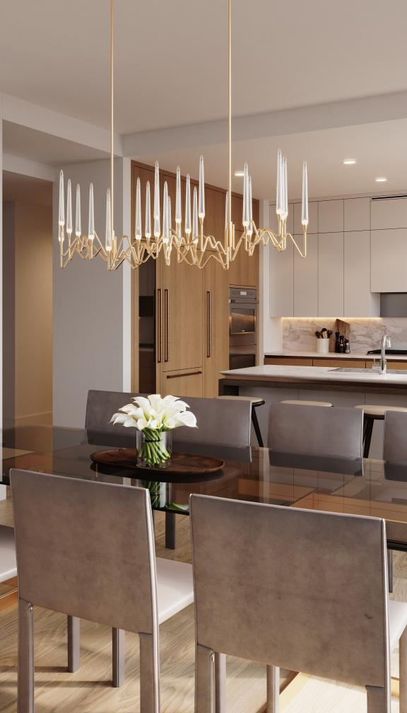 Penthouse kitchen and dining area